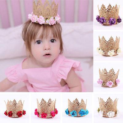 - Cute Baby Girl Crown Headband Princess Crown Hair band Gold Tiara Lace Headwear