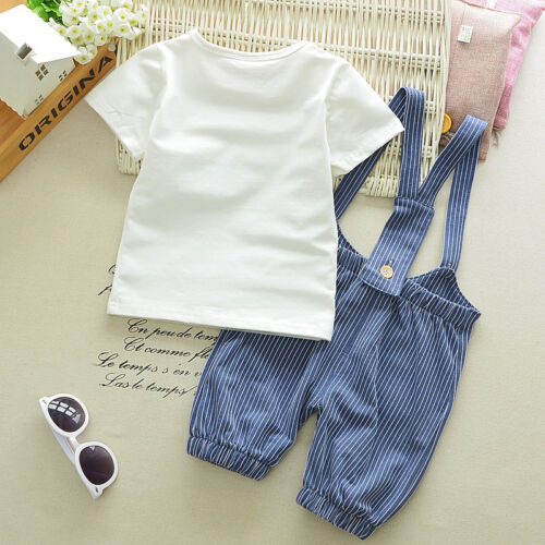2pc baby boys clothes summer short sleeve Tee+bib pants kids boys outfits cool 2