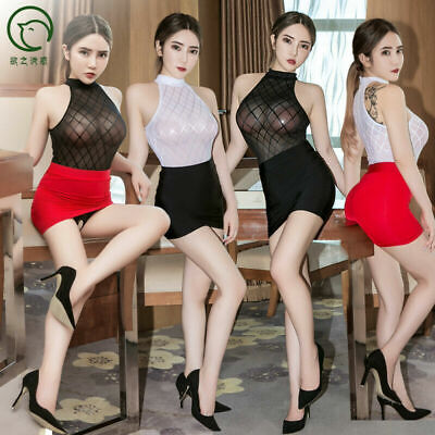 Woman Bodysuit Costume (Sexy Women Check Lingerie Secretary Uniform Cosplay Costume Bodysuit + Skirt)