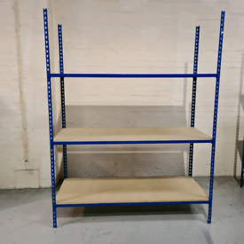 Industrial Metal Shelving Units with Chipboard Shelves for Storage