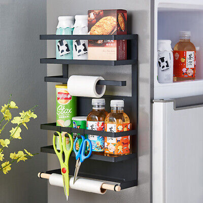 Magnetic 4 Tier Kitchen Fridge Organiser Paper Towel Foil Cling Film Holder