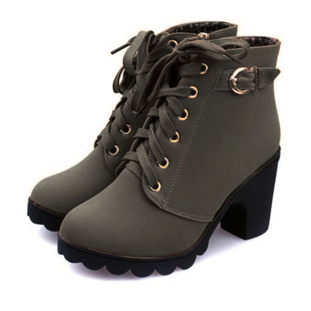 E9 Women High Heel Lace up Ankle BOOTS Ladies ZIPPER Buckle