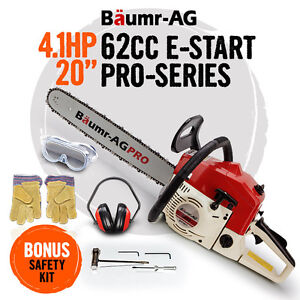 NEW Baumr-AG 62cc Commercial Chainsaw e-Start 20