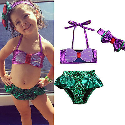 US Newborn Girls Bikini Swimmable Mermaid Princess Swimwear Swimsuit For Girls (Swimsuits For Girls)