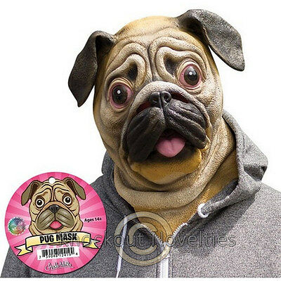 Pug Mask Costume Head Halloween Scare Realistic Latex Rubbery Face Dog Puppy