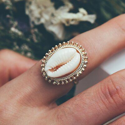 Bohemia Nature Cowrie Shell Ring Adjustable Women Jewelry Gold Band Rings Gift