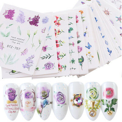 24 Sheets Nail Art Stickers Watercolor Water Transfer Decals Flowers Tips Decor for sale  China