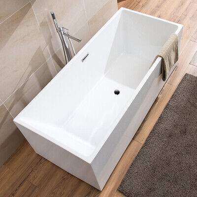 67 Inch White Rectangle Bathtub Freestanding Acrylic Tub with Drain 97.74Gallons