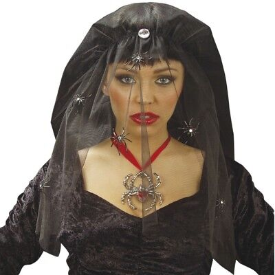 SCHLEIER SCHWARZE WITWE mit Strass Spinnen Halloween Fasching Karneval Hut (Schwarze Witwe Halloween)
