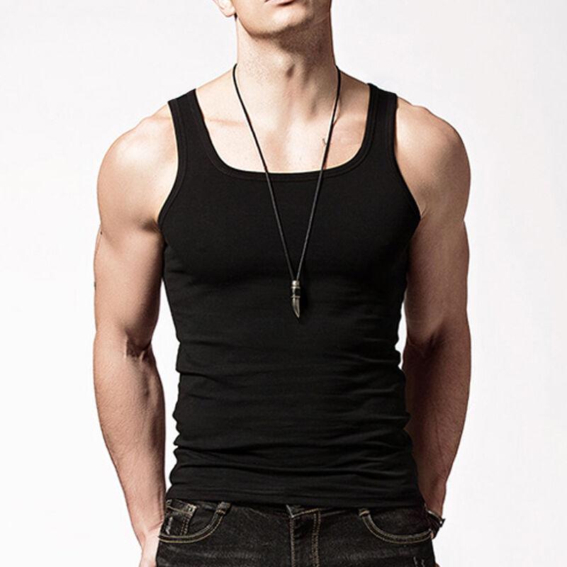 3 Packs Mens 100% Cotton Tank Top A-Shirt Wife Beater Undershirt Ribbed Black