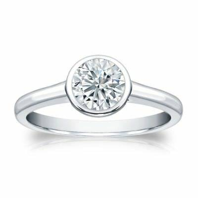 Stunning 0.30 Cts F/VS1 GIA Certified Natural Diamond Bezel Set Ring In 14K Gold