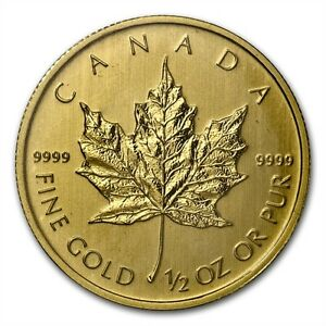 1/2 oz Misc. Year Canadian Maple Leaf $20 Gold Coin 9999