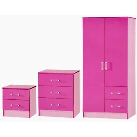 glossy 3pcs wardrobe set pink/white/blue same day delivery