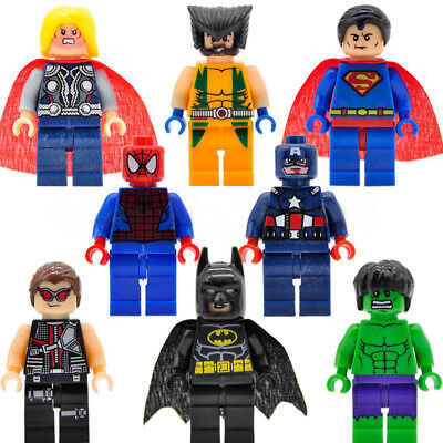 8Pcs Marvel Avengers Mini Figures Fit Lego Hulk Superman Thor Batman SpidermanUK