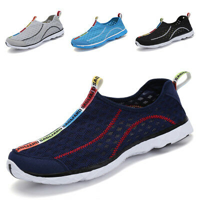 Mesh Men Sneakers - SAGUARO Men Breathable Mesh Slip On Water Shoes Casual Walking Outdoor Sneakers