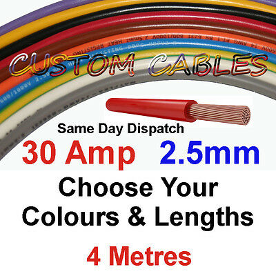 4m RED 2.5mm 30A 12v AUTO CABLE CAR WIRING LOOM WIRE AUTOMOTIVE MARINE BOAT