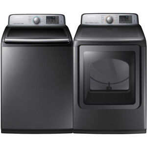 Samsung Platinum WA50M7450AP Top Load Washer And DVE50M7450Dryer