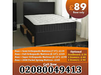Brand New Double Divan bed Base in black Color With Orthopaedic Mattress