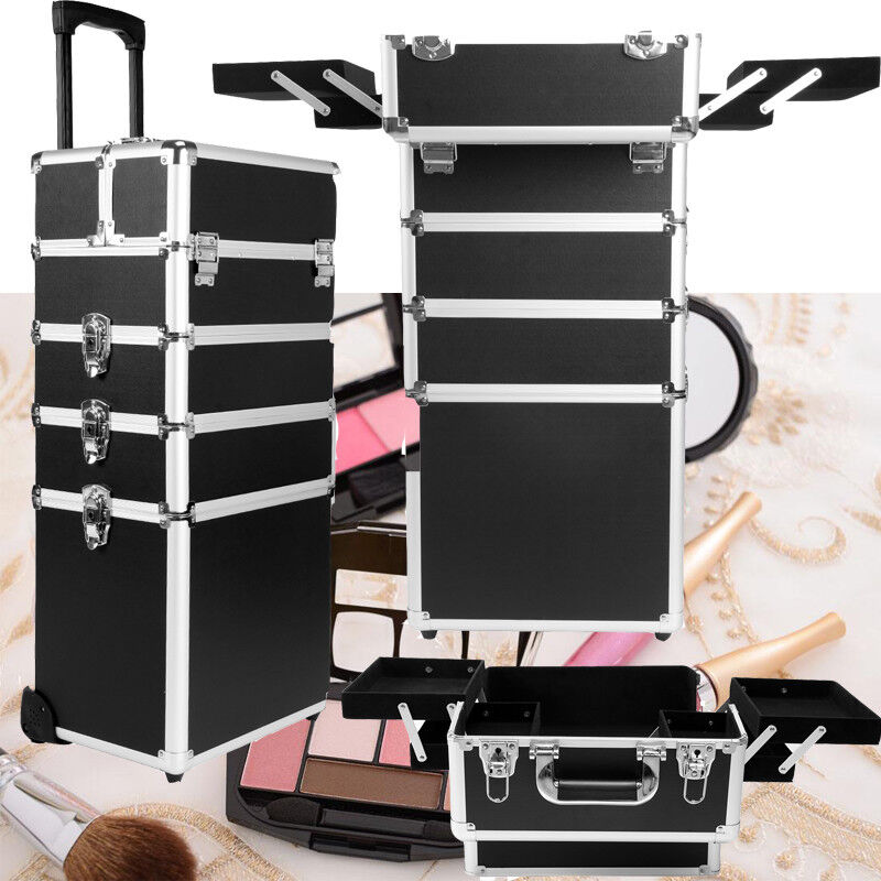 Make-up Koffer Trolley 2 Räder Werkzeugtrolley Friseurkoffer Tool Beauty Case Pilotenkoffer & Trolleys Make-up Taschen & Koffer