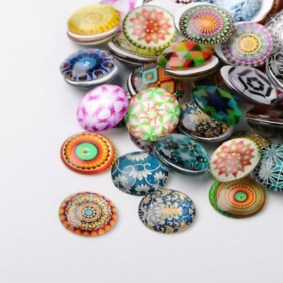 200 Pcs Flower Glass (200pcs Flat Back Printed Flower Pattern Glass Half Round Dome Cabochons 10mm )
