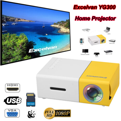 Mini LED Projektor HD 1080P Heimkino Beamer Multimedia USB HDMI AV für Handy TV