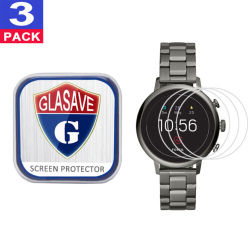 3 Pack GLASAVE Fossil Q Venture HR (Gen 4) 40mm Tempered Glass Screen Protector