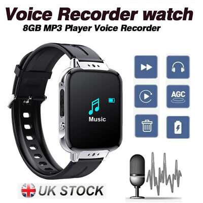Digital Voice Recorder Spy Watch Bluetooth 8GB MP3 Player Audio Sound Recording Spy Mp3