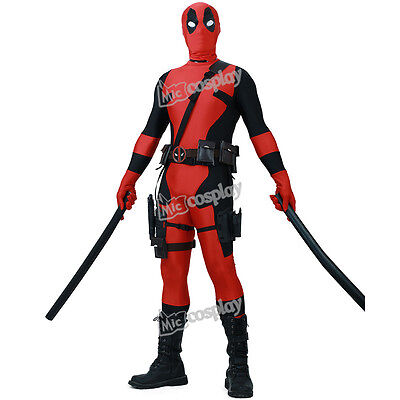 Deadpool Spandex Adults Men Red Lycra Zentai Bodysuit Halloween Cosplay Costume - Halloween Deadpool Costume