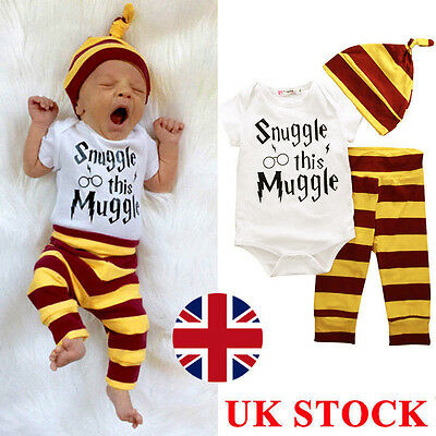 3PCS Harry Potter Snuggle This Muggle Baby Boys Girls Clothes Tops Pants Outfits