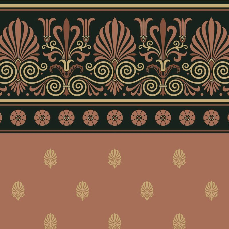 Dollhouse Wallpaper - Neo Grec Frieze and Anthemion Wall