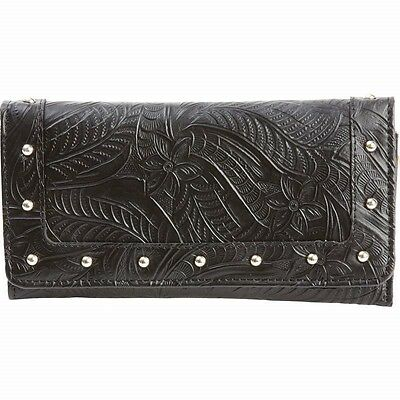 New Womens Slim TRIFOLD Black Genuine LEATHER WALLET ID Credit Card Case Holder