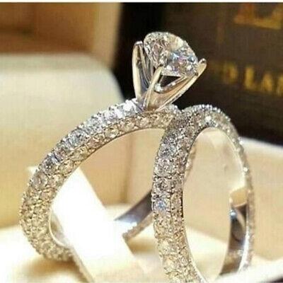Women Dazzling Faux White Sapphire Round Cut Diamond Silver Wedding Ring Set - Faux Diamond Rings