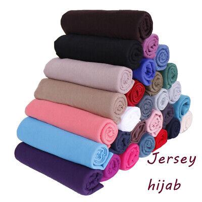 Frauen Baumwolle Jersey Hijab Schal Schals Solid Elasticity Kopftuch Muslimische
