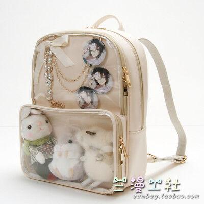 Kawaii Pure Cool Color Transparency Backpack Mori Girl Preppy Style Shoulder - Cool Backpacks Girls