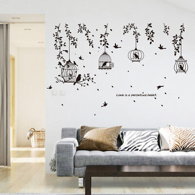 (Vine Bird Cage Wall Stickers Art Decal Home Decor Mural Vinyl Removable)