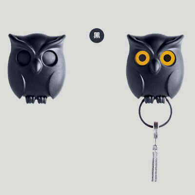 Black Night Owl Magnetic Wall Key Holder Magnets Keep Keychains