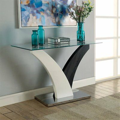 tri glass top console table in white