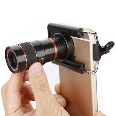 Zoom Portable Monocular Mini Mobile Phone Telescope HD Camera Black Len+Clip New