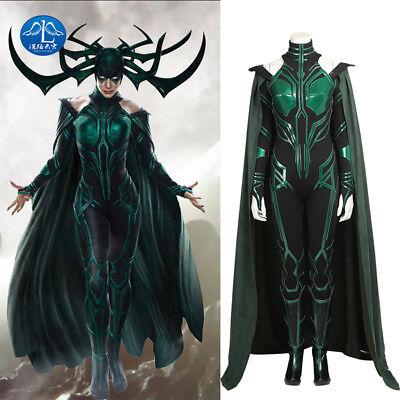 Thor 3 Ragnarok Hela Women Cosplay Costume Halloween Jumpsuit Cloak Full Set New