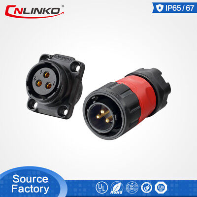 Cnlinko M20 3pin 12v Waterproof Connector Electric Male Plug Female Panel Socket