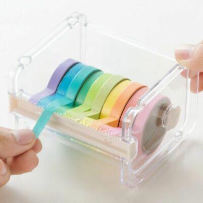 Cute Tape Dispenser Holder Sticky Desktop Cutter Stationery Desk Multi Clear