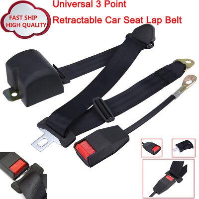 Universal Adjustable 3 Point Retractable Car Auto Safety Seat Belt Lap Belt Kit
