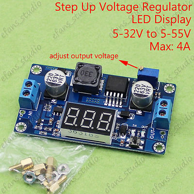 Dc-dc Boost Step Up Converter 5-32v To 5v-55v 9v 12v 19v 24v 48v Led Voltmeter