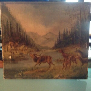 ANTIQUE MOUNTAIN LANDSCAPE DEER OIL PAINTING