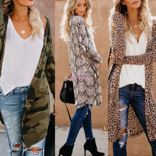 Womens Long Sleeve Loose Cardigan Leopard Kimono Blouse Tops