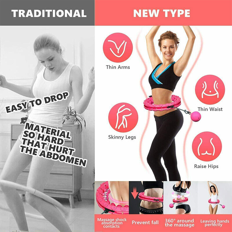 Kilo-24K Exercise Hoop for Adults and Kids Lose Weight Fast by Fun Way to Workout Spring Hula Hoop Portable and Easy to Spin