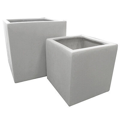 Pair of 20cm Marble White Polystone Cubic Planters - Garden Home Square Pots