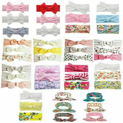 3pcs/ Set Headband Baby Girl  Newborn Cotton Bow  Ribbon Elastic Headdress Kids