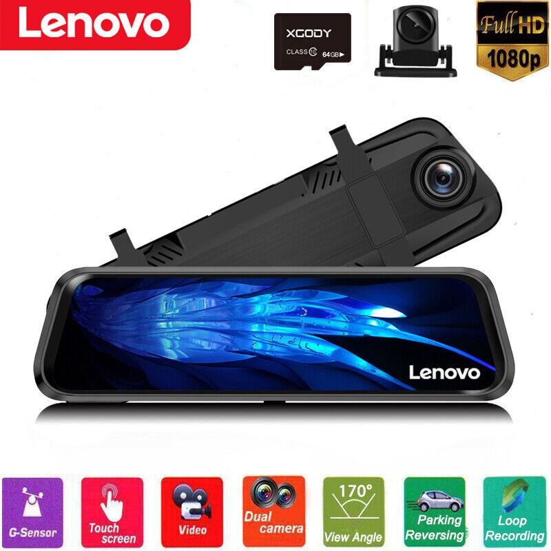 Lenovo 32GB 10'' FHD 1080P Car DVR Dual Lens Dash Cam Camera
