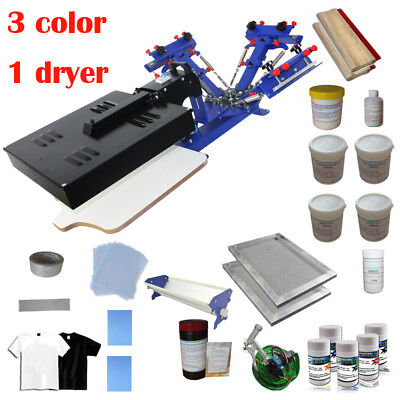 3 Color Screen Printing Press Kit Micro-adjust Printer Diy Consumables Ink Coat